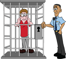 Person in a jail cell